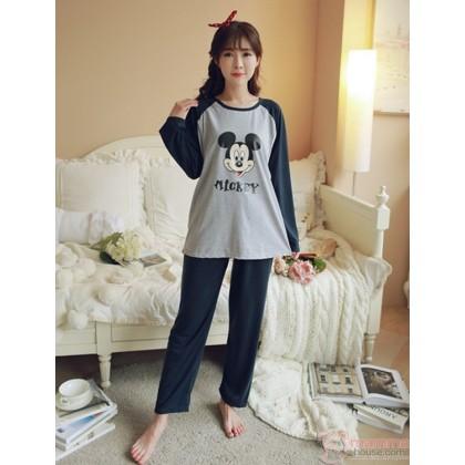 Mamma Pajamas - Long Mickey Grey Dark Blue