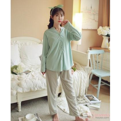 Maternity Nursing Pajamas - Long Button Green Blue