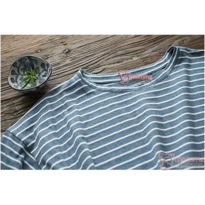Maternity Dress - Simple Stripe Grey
