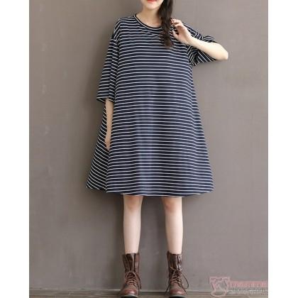 Maternity Dress - Simple Stripe Black