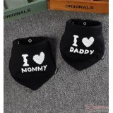 Baby Bib - 2pcs set - Love Daddy Mommy Black