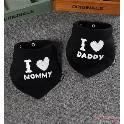 Baby Bib - 2pcs set - Love Daddy Mommy Black