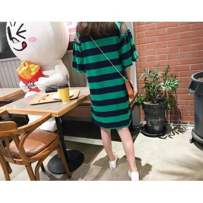 Maternity Dress - Stripe Green