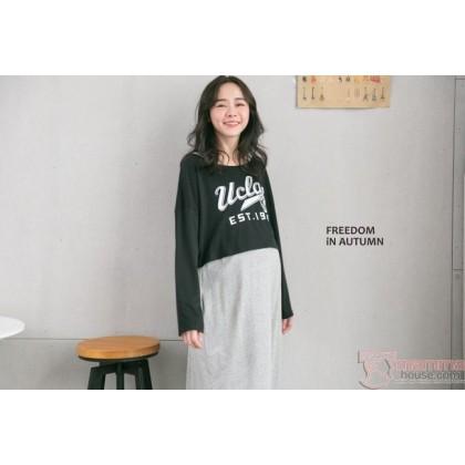 Nursing Dress - 2pcs Ucla Black Long