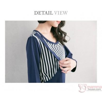 Nursing Set - Vert Stripe Dark Blue LONG (plus baby romper)