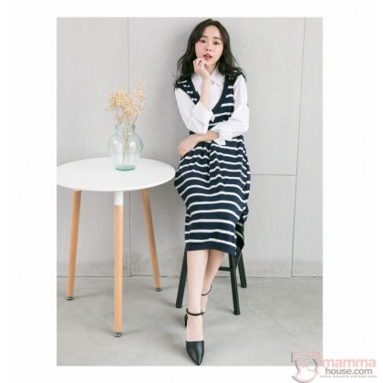 Nursing Dress - Long Forge 2pcs White Collar Dark Blue