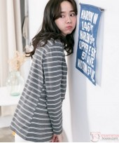 Nursing Tops - V Neck Stripe Dark Grey Long Sleeves