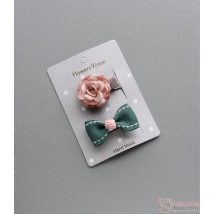 Baby Hair Clip - Rose Ribbon Design (2pcs set)