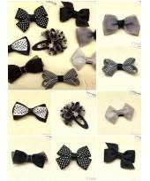 Baby Hair Clip - Black Ribbon (1set - 8 pcs)