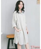 Nursing Dress - Collar Stripe Grey Green Long Sleeves
