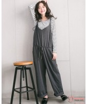 Nursing Dress - Long 2pcs Strap Pants Grey