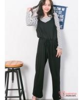 Nursing Dress - Long 2pcs Strap Pants Black