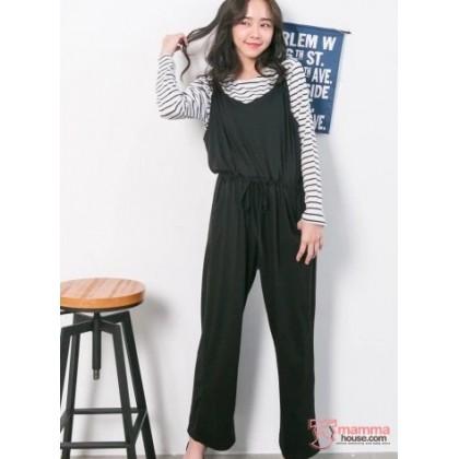 Nursing Set - Long 2pcs Strap Pants Black