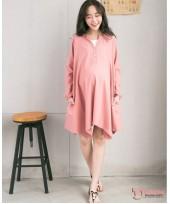 Nursing Dress - Long Wave Red Pink