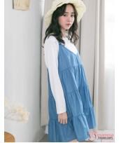 Nursing Dress - 2pcs Long Layer Denim Light Blue