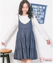 Nursing Dress - 2pcs Long Layer Denim Blue DARK