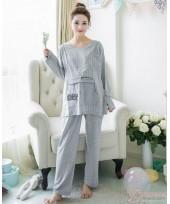 Mamma Pajamas - Long Stripe Pocket Grey