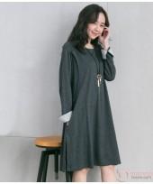 Nursing Dress - Long Fold Sleeves Grey Dark