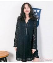 Nursing Dress - Elegant Lace Dark Blue Long Sleeves V NECK
