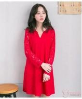 Nursing Dress - Elegant Lace Red Long Sleeves V NECK
