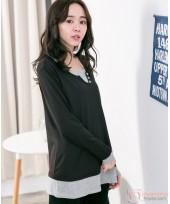 Nursing Tops - Buttons V Long Sleeves Black