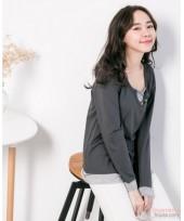 Nursing Tops - Buttons V Long Sleeves Grey