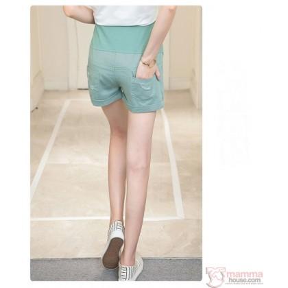 Maternity Shorts - Cool Badge Green Blue