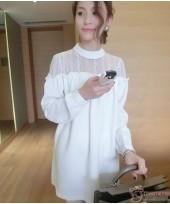 Maternity Tops - Long Blouse Chiffon White