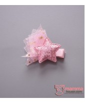 Baby Hair Clip - Star Lace Pink