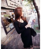 Maternity Dress - Long Knitted Black