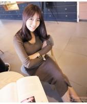 Maternity Dress - Long Knitted Khaki Brown