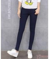 Maternity Pants - Long Slim Fit Dark Blue