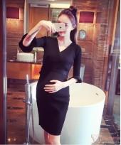 Nursing Dress - Long Cross Knitted Black