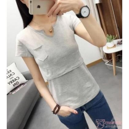 Nursing Tops - Cotton V Collar (Dark Blue or Grey)