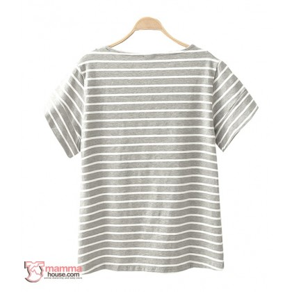Nursing Tops - Stripe White Grey