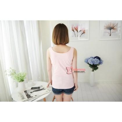 Nursing Singlet - JP Top Button Pink