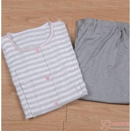 Maternity Nursing Pajamas - JP Stripe Light Grey (tops only, no pants)