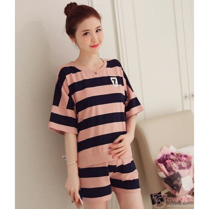 Maternity Set - 2pcs Stripe Pink