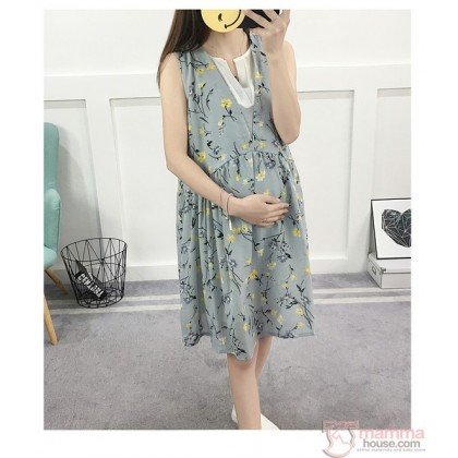 Maternity Dress - Sweet Flora Grey