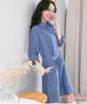 Nursing Dress - Long Sleeves Denim Ribbon