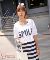 Nursing Dress - 2 pcs Smile White Blue