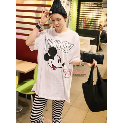 Nursing Set - White Mickey (stripe legging)