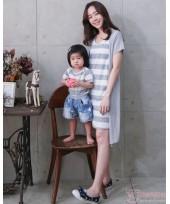 Nursing Set - Forge Stripe Grey (plus baby romper)