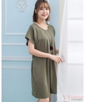 Nursing Dress - Simple Army Green