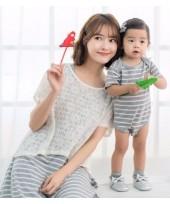 Nursing Set - 2pcs Lace Grey (plus baby romper)