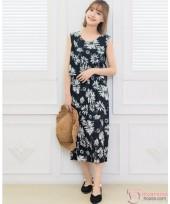 Nursing Dress - Myth Flora Black Long