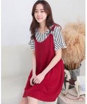 Nursing Dress - 2pcs Stripe Set Red