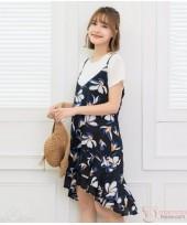 Nursing Dress - 2pcs Ive Flora Dark Blue
