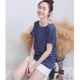 Nursing Tops - Stripe Cross Dark Blue