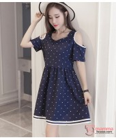 Maternity Dress - Shoulder Polka Dark Blue